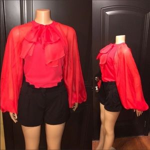 AKIRA Babe Chiffon Blouse front attached tied Bow